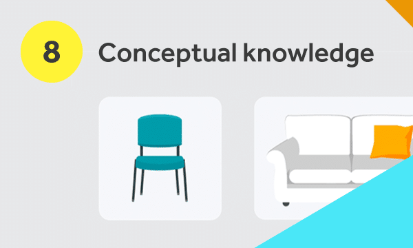 Different types of chairs to illustrate conceptual knowledge
